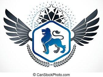 gelassen, emblem, geschaffen, geflügelt, weinlese, ritterwappen, kranz, löwe, fünfeckig, stars., vektor, design, gebrauchend, wild, lorbeer, abbildung
