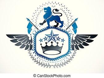 gelassen, geflügelt, ritterwappen, emblem, abbildung, freigestellt, krone, löwe, vektor, vector., wild, kaiserlich