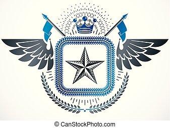 gelassen, gemacht, emblem, gebrauchend, krone, weinlese, ritterwappen, kranz, fünfeckig, vektor, design, sternen, lorbeer, monarch