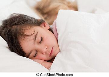 gelassen, kinder, eingeschlafen