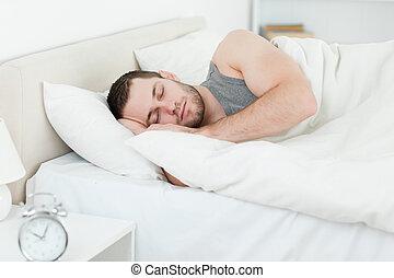 gelassen, mann schlafen