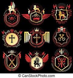 gelassen, wappen, satz, elemente, mittelalterlich, kronen, strongholds, weinlese, etiketten, symbolisch, sammlung, stilisiert, kreuze, armory., vektor, retro, illustrationen, monarch, design.