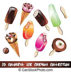 gelati, icona, set