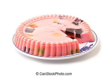 Gelatin - Beautiful plate of molded pink strawberry gelatin...