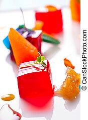 gelatina, colorito, frutte, gelatine, bianco
