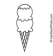 gelato, delizioso, cono