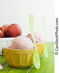 gelato, melocotón