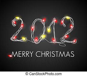 gelbe lichter, vektor, hintergrund, weihnachten, rotes