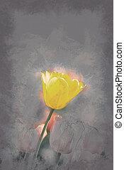 gelbe tulpe, umgeben, per, rotes , tulpen