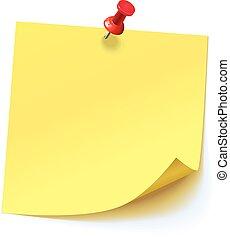 gelber aufkleber, festgesteckt, rotes , drucktaste