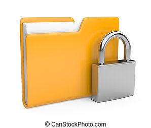 gelber , büroordner, und, lock., datensicherheit, begriff