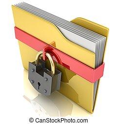 gelber , büroordner, und, lock., datensicherheit, concept.
