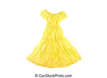 gelber , chiffon, langer, frauen, kleiden