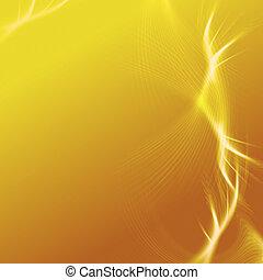 gelber hintergrund, mit, lichter, und, linien