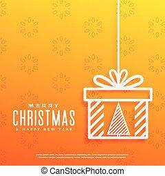 gelber hintergrund, mit, weihnachtsbaum, innenseite, a, geschenkschachtel, design