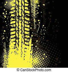 gelber hintergrund, reifenfährte