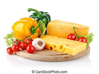 gelber , kã¤se, mit, frische gemüse