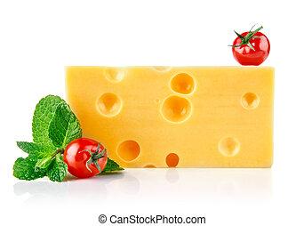 gelber , kã¤se, mit, tomaten, und, blatt