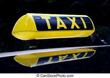 gelber , neon, taxi zeichen, widerspiegelnd, auto, dach