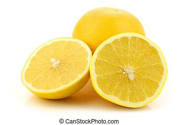 gelber , pampelmuse, und, a, schnitt, eins