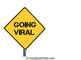 gelber , roadsign, mit, gehen, virus, nachricht