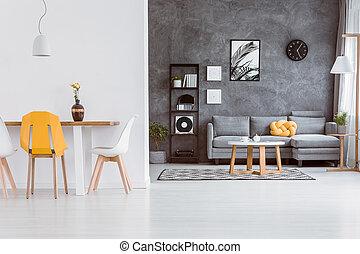 Gelber Stuhl, In, Wohnzimmer