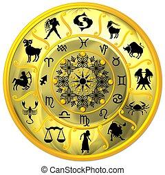 gelber , tierkreis, scheibe, mit, zeichen & schilder, und, symbole