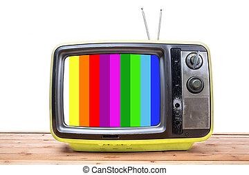 gelber , weinlese, fernsehapparat, auf, holz, tisch