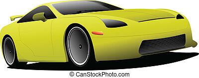 gelbes auto, auf, der, road., vektor