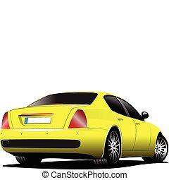 gelbes auto, sedan, auf, der, road., vect