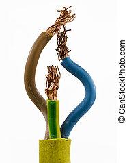 Kabel mit drei Drähten - Gelbes Kabel mit drei Drähten und...