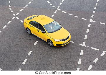 gelbes taxi, bewegt, auf, stadt