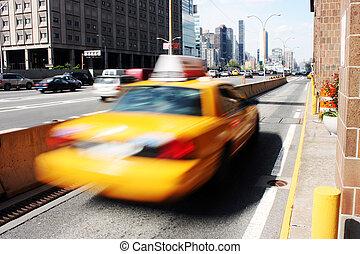 gelbes taxi, schnell, in, der, straße