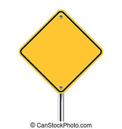 gelbes zeichen, vektor, leer, straße, 3d