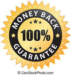 geld, 100%, back, borg staan voor