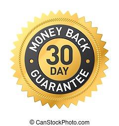 geld, 30, back, etiket, dag, borg staan voor
