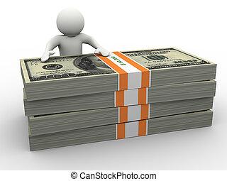 geld, 3d, mann