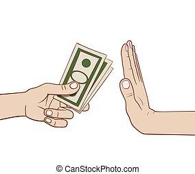 geld, ablehnen