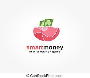 geld, abstrakt, logotype, vektor, design, schablone, brandmarken, logo, concept., ikone