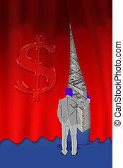 geld, achter, curtain.