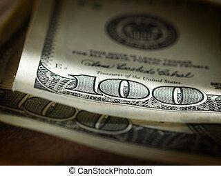geld, amerikaan, honderd dollars, rekeningen
