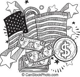 geld, amerikaan, schets