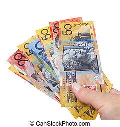 geld, australiër, handvol, vrijstaand