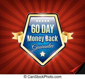 geld, back, 60, badge, dag, borg staan voor