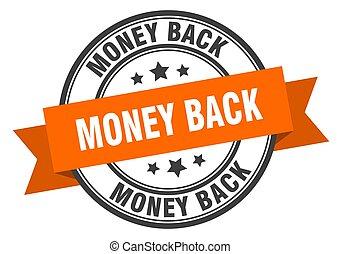 geld, band, teken., label., sinaasappel, back