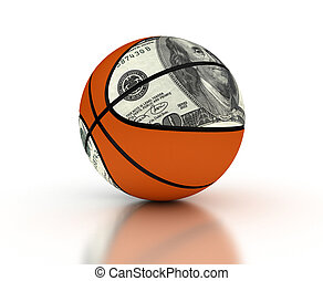 geld, &, basketbal