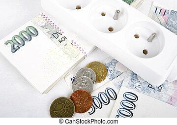 geld, begriff, von, teuer, energie, banknote