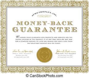 geld, bescheinigung, garantie, vektor, zurück