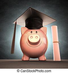 geld, besparing, dag, afgestudeerd