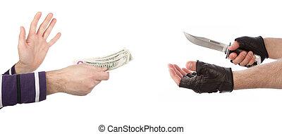 geld, boeiend, slachtoffer, rover, mes